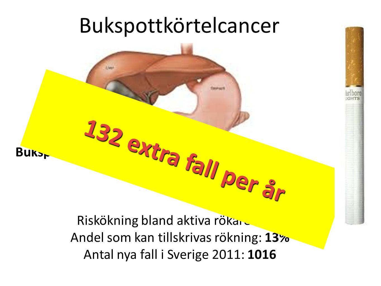 132 extra fall/år 132 extra fall per år Bukspottkörtelcancer