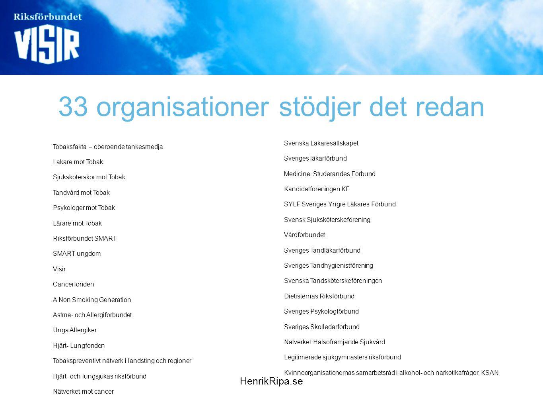 33 organisationer stödjer det redan
