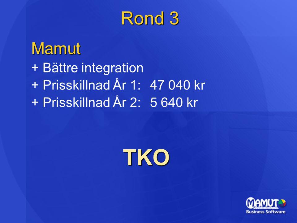 TKO Rond 3 Mamut + Bättre integration + Prisskillnad År 1: 47 040 kr
