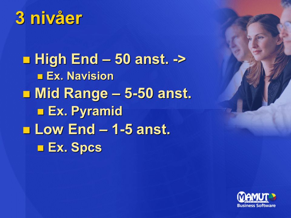 3 nivåer High End – 50 anst. -> Mid Range – 5-50 anst.
