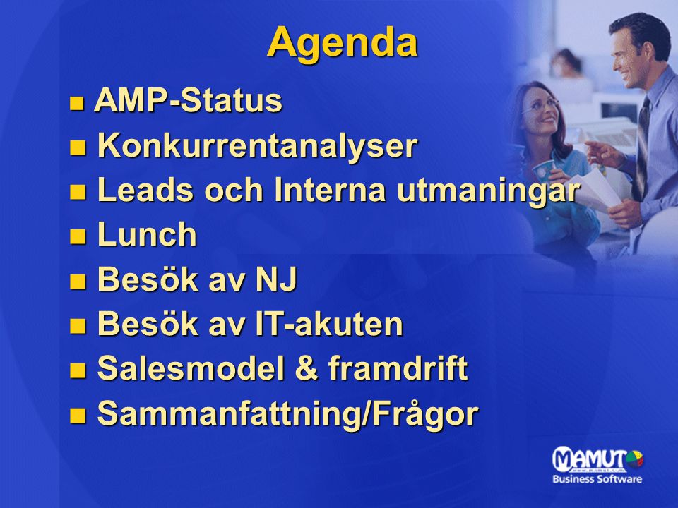 Agenda Konkurrentanalyser Leads och Interna utmaningar Lunch
