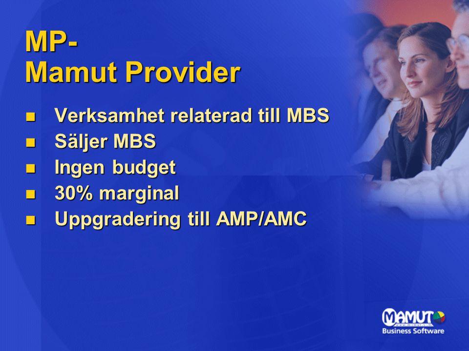 MP- Mamut Provider Verksamhet relaterad till MBS Säljer MBS