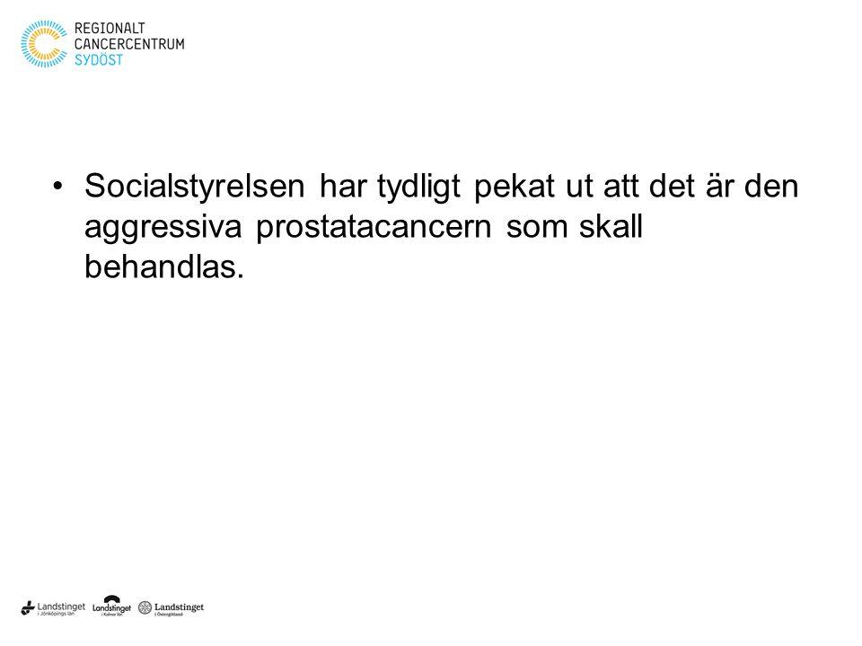 Socialstyrelsen har tydligt pekat ut att det är den aggressiva prostatacancern som skall behandlas.