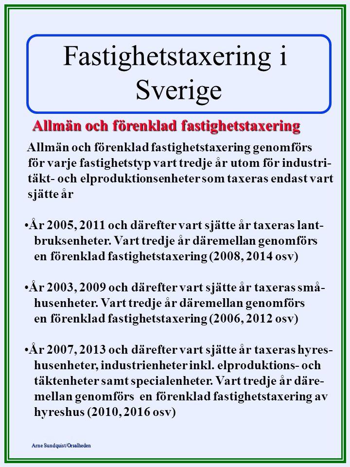 Fastighetstaxering i Sverige Allmän och förenklad fastighetstaxering
