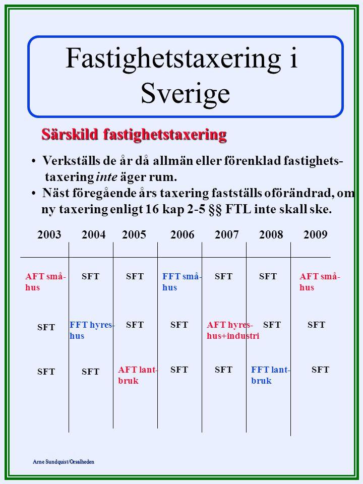 Fastighetstaxering i Sverige Särskild fastighetstaxering