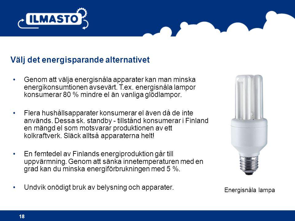 Välj det energisparande alternativet