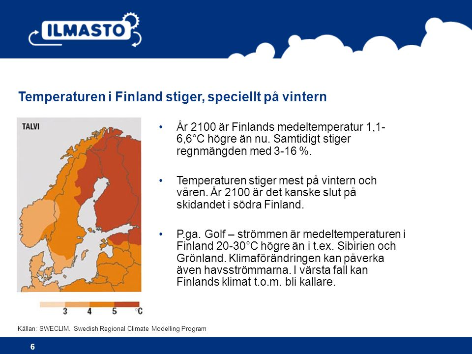 Temperaturen i Finland stiger, speciellt på vintern