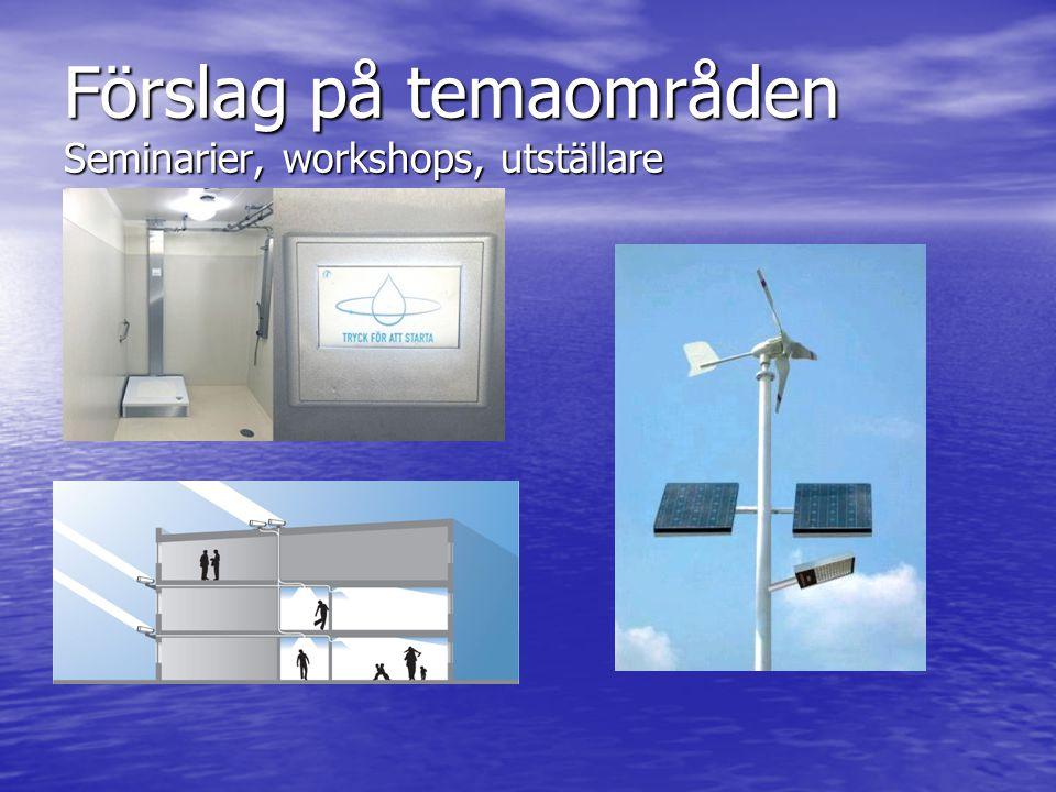 Förslag på temaområden Seminarier, workshops, utställare