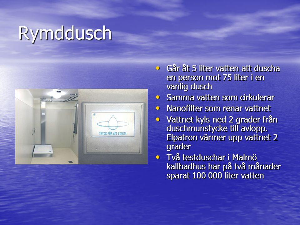 Rymddusch Går åt 5 liter vatten att duscha en person mot 75 liter i en vanlig dusch. Samma vatten som cirkulerar.