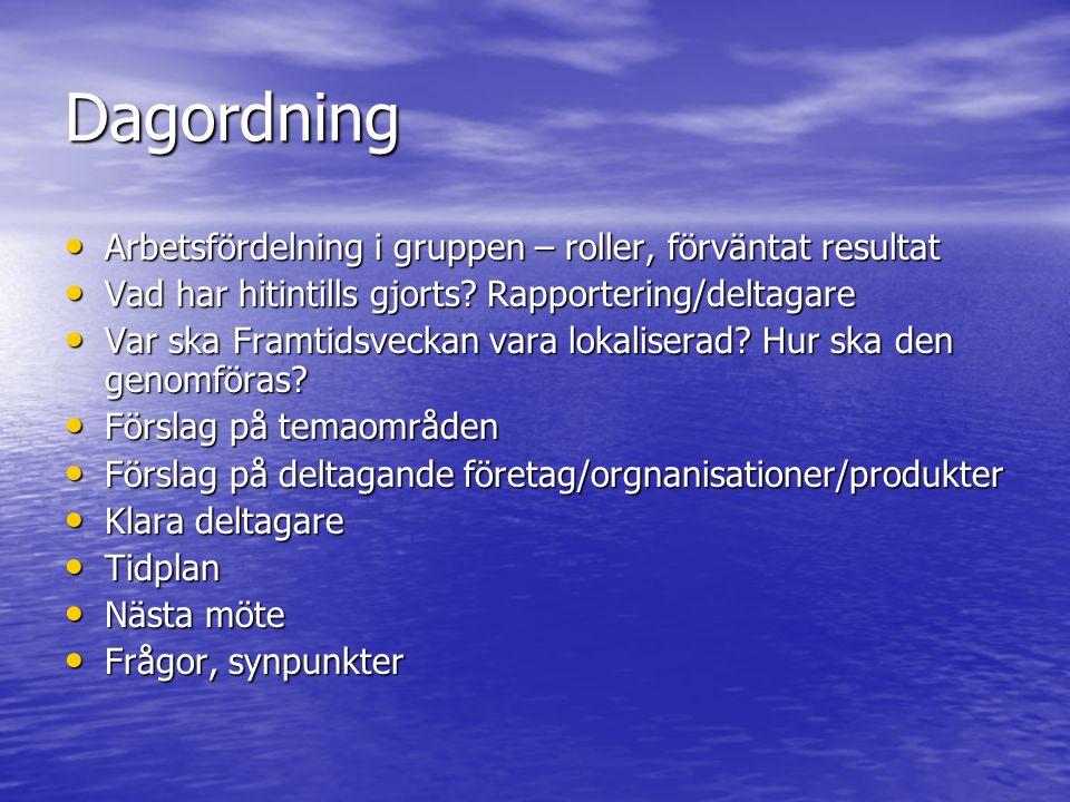 Dagordning Arbetsfördelning i gruppen – roller, förväntat resultat