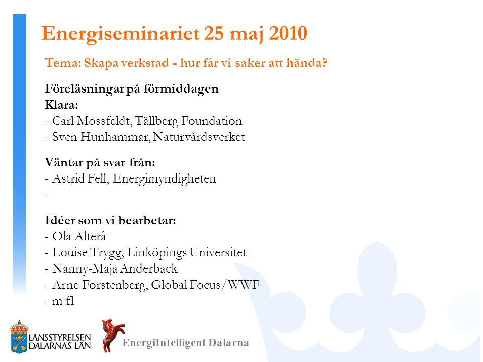 Energiseminariet 25 maj 2010 Tema: Skapa verkstad - hur får vi saker att hända Föreläsningar på förmiddagen.
