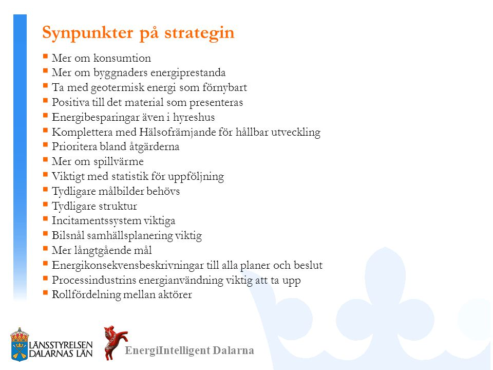 Synpunkter på strategin