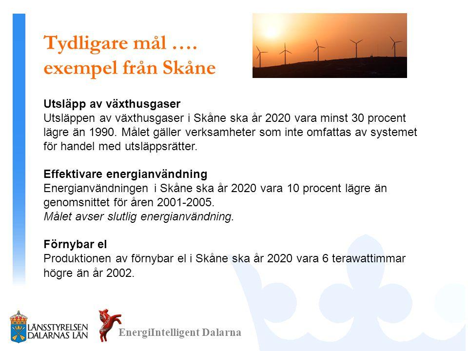Tydligare mål …. exempel från Skåne