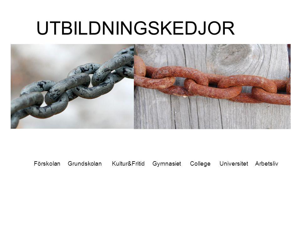 UTBILDNINGSKEDJOR Förskolan Grundskolan Kultur&Fritid Gymnasiet College Universitet Arbetsliv.