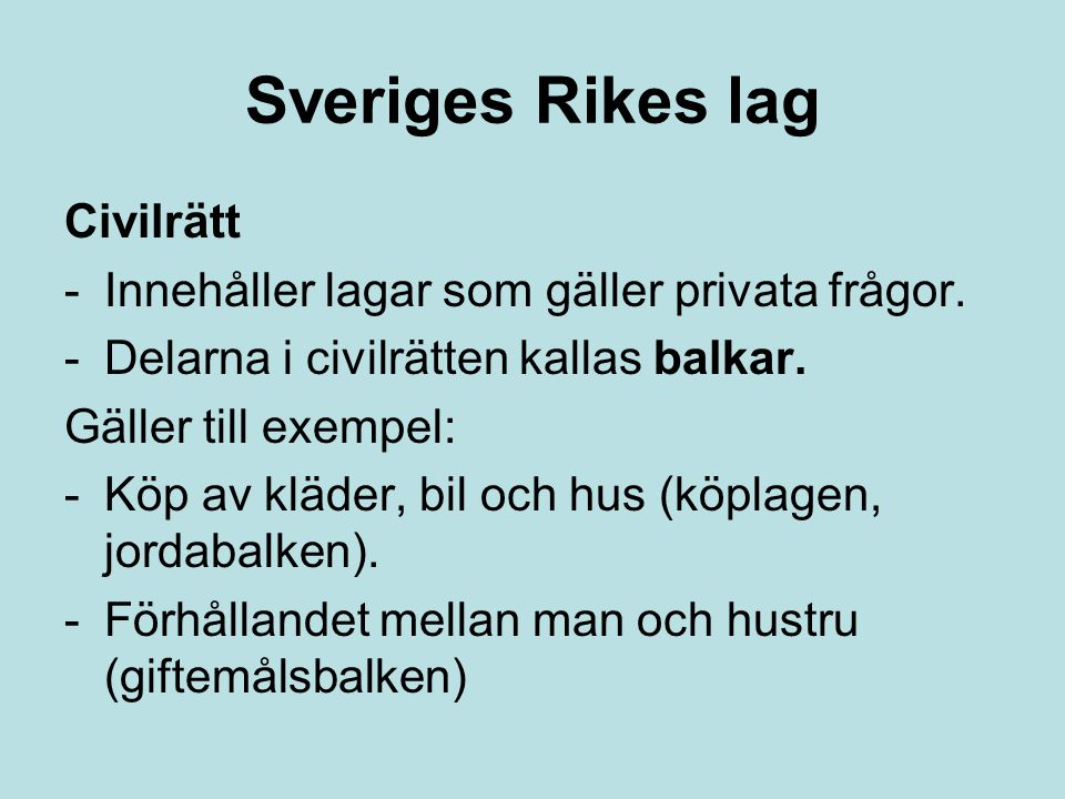 Sveriges Rikes lag Civilrätt