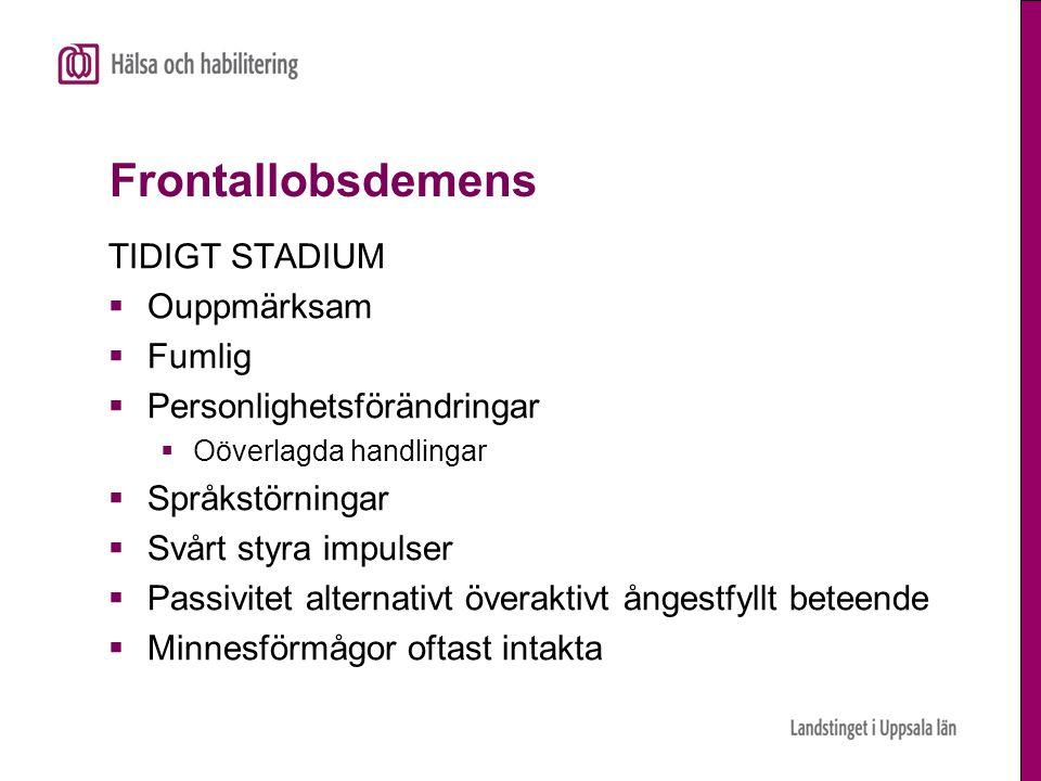 Frontallobsdemens TIDIGT STADIUM Ouppmärksam Fumlig