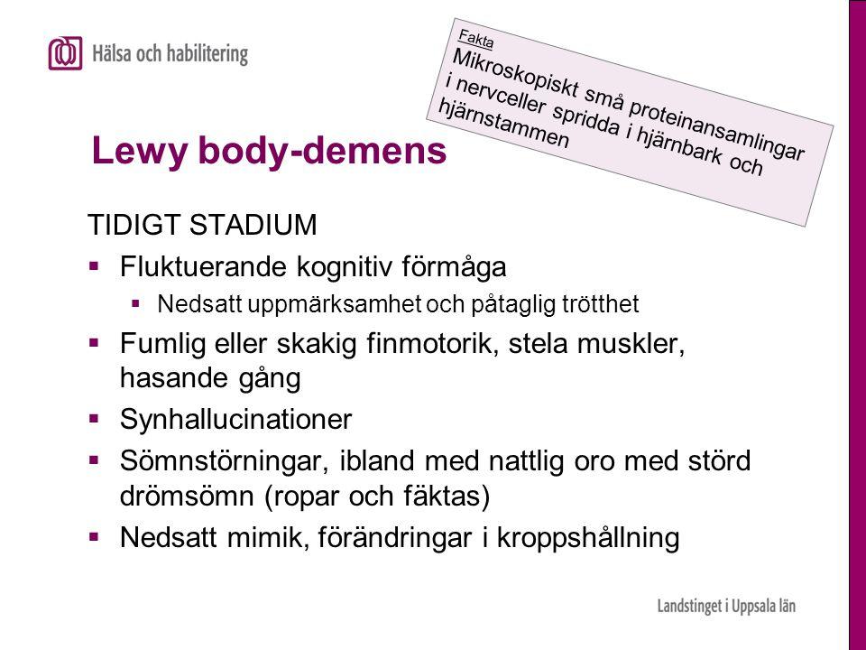 Lewy body-demens TIDIGT STADIUM Fluktuerande kognitiv förmåga