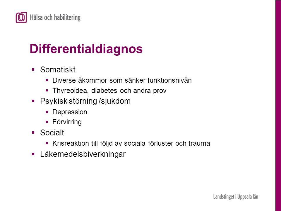 Differentialdiagnos Somatiskt Psykisk störning /sjukdom Socialt