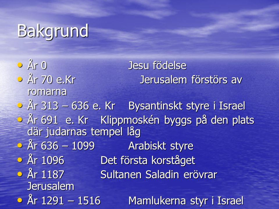Bakgrund År 0 Jesu födelse År 70 e.Kr Jerusalem förstörs av romarna