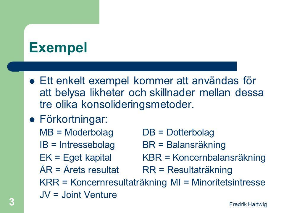 Exempel Ett enkelt exempel kommer att användas för att belysa likheter och skillnader mellan dessa tre olika konsolideringsmetoder.