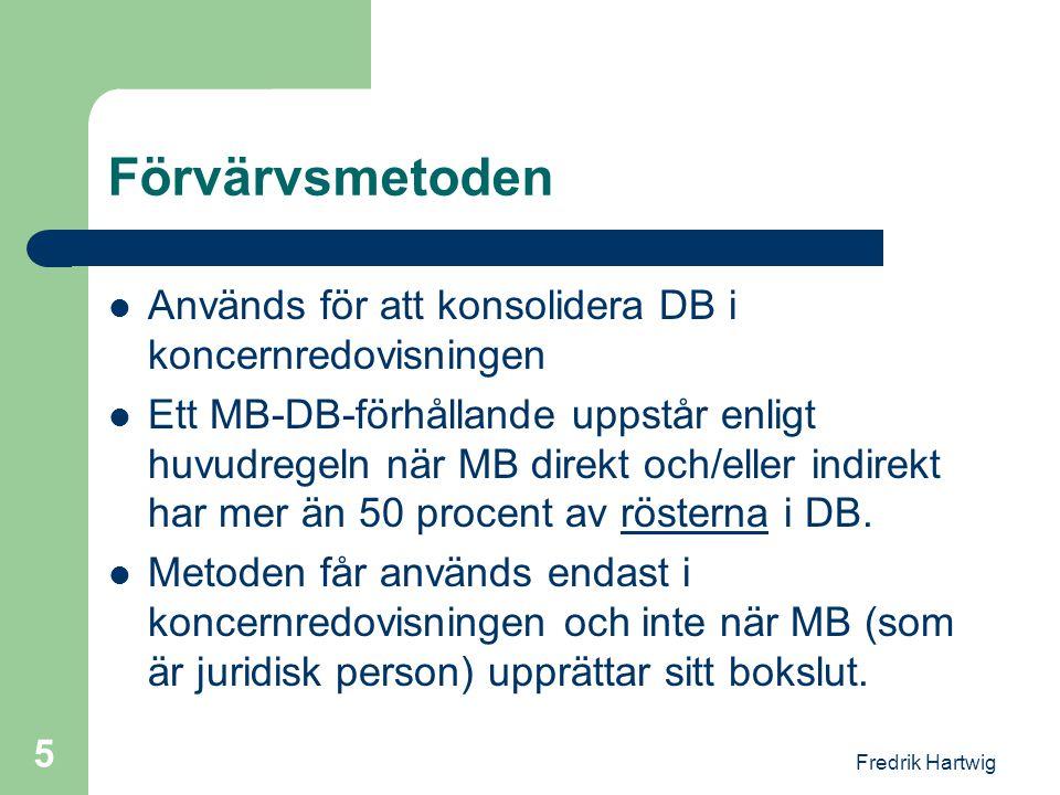 Förvärvsmetoden Används för att konsolidera DB i koncernredovisningen