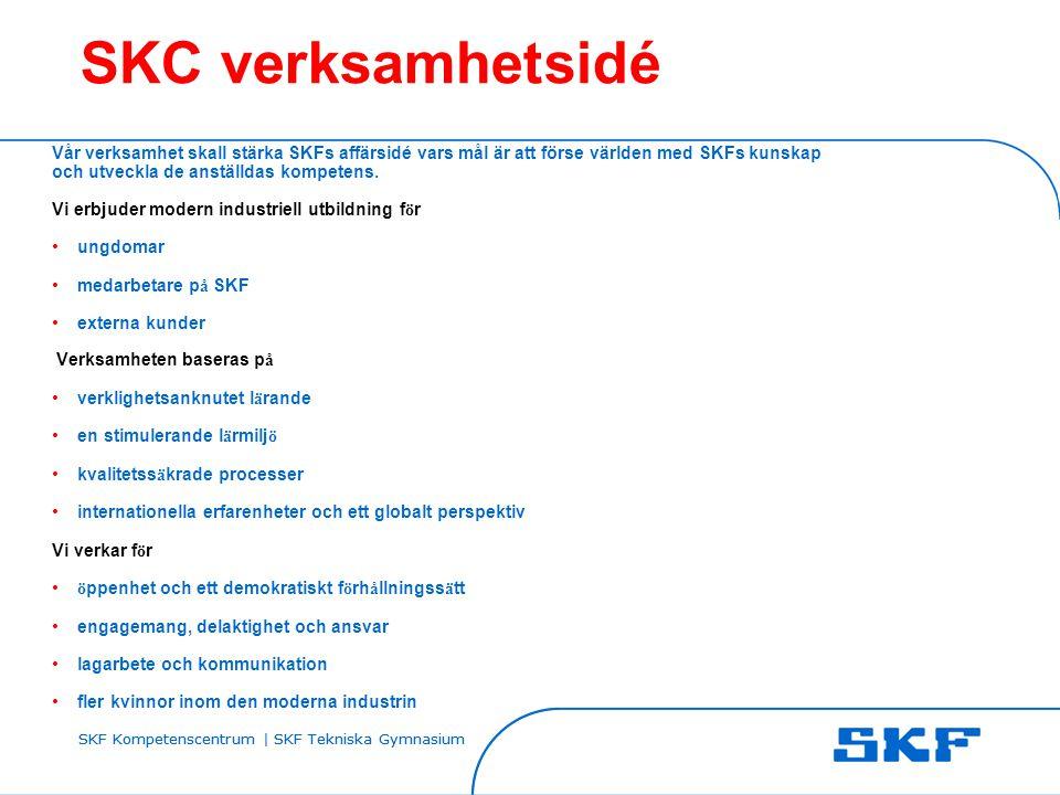 SKC verksamhetsidé Vår verksamhet skall stärka SKFs affärsidé vars mål är att förse världen med SKFs kunskap och utveckla de anställdas kompetens.