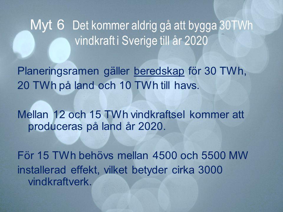 Myt 6 Det kommer aldrig gå att bygga 30TWh vindkraft i Sverige till år 2020