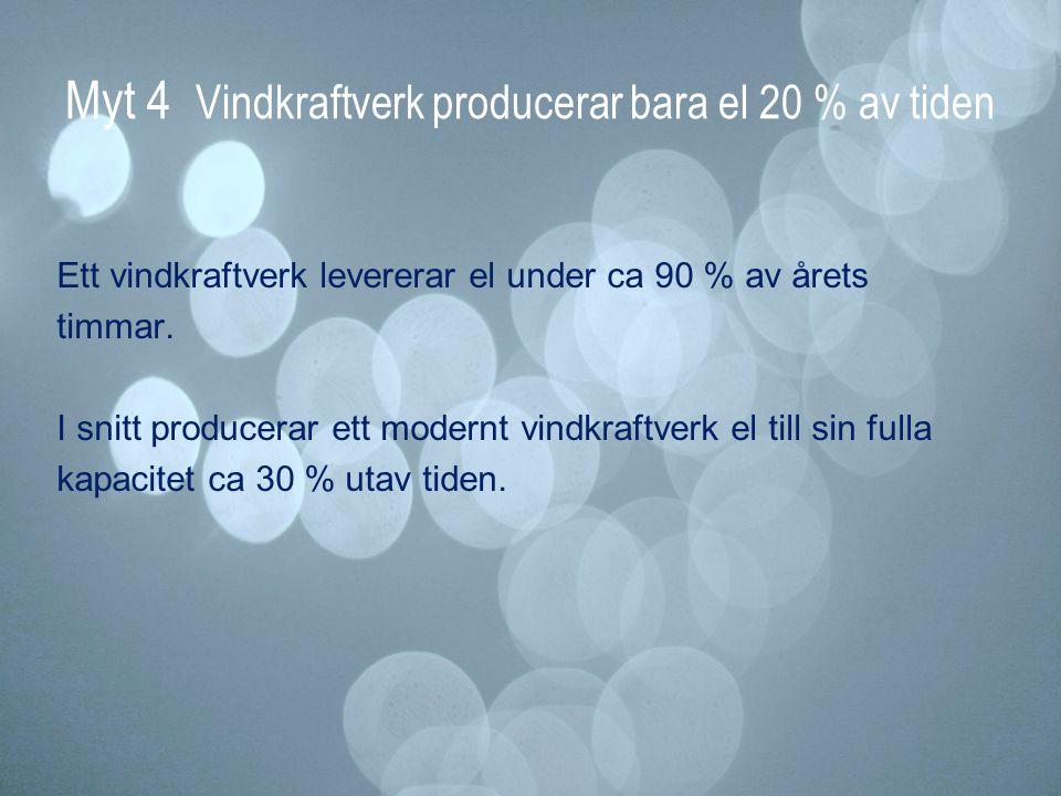 Myt 4 Vindkraftverk producerar bara el 20 % av tiden