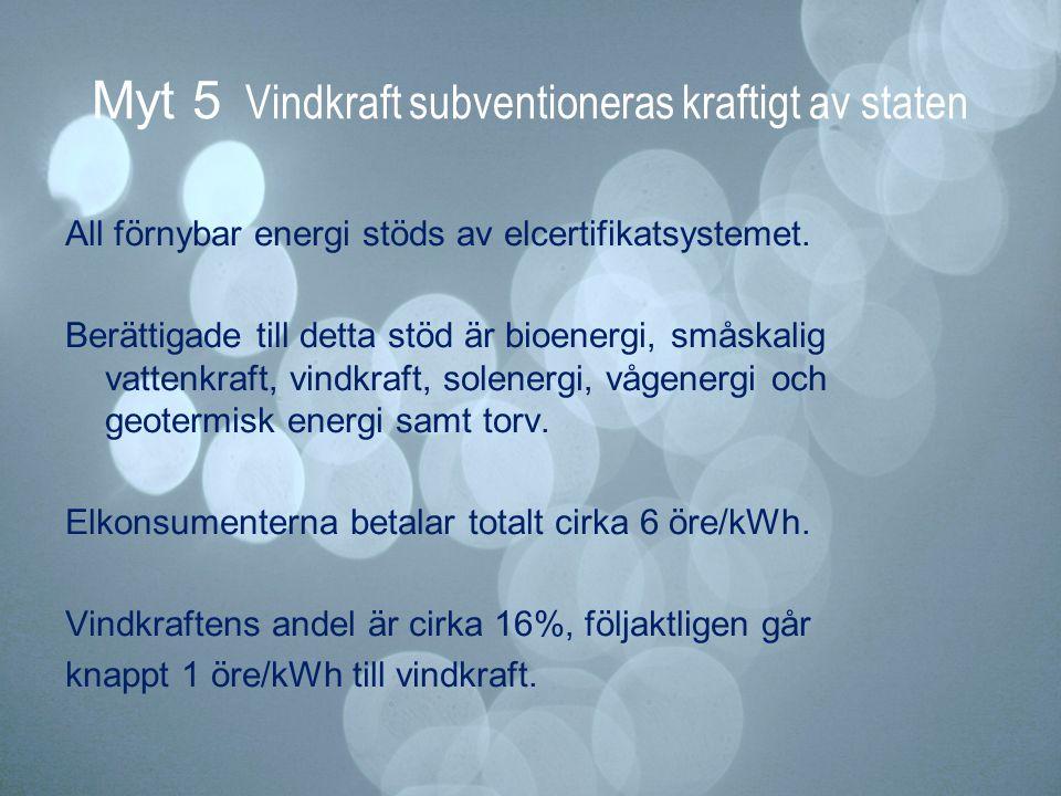 Myt 5 Vindkraft subventioneras kraftigt av staten
