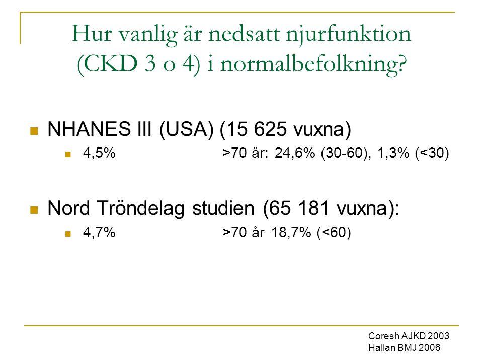 Hur vanlig är nedsatt njurfunktion (CKD 3 o 4) i normalbefolkning