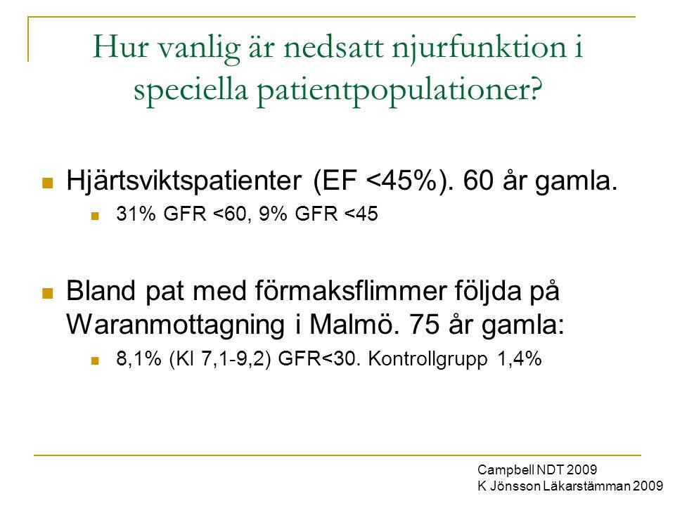 Hur vanlig är nedsatt njurfunktion i speciella patientpopulationer