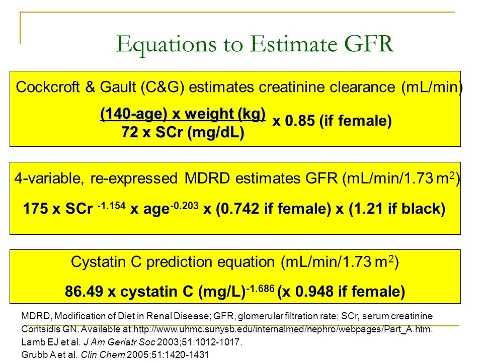 Equations to Estimate GFR