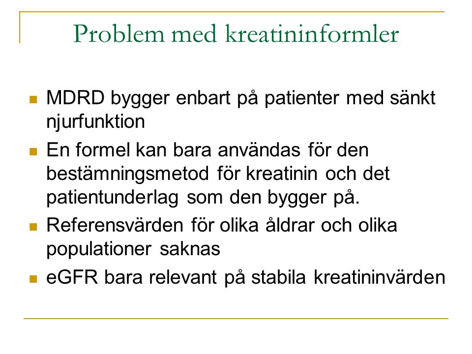 Problem med kreatininformler