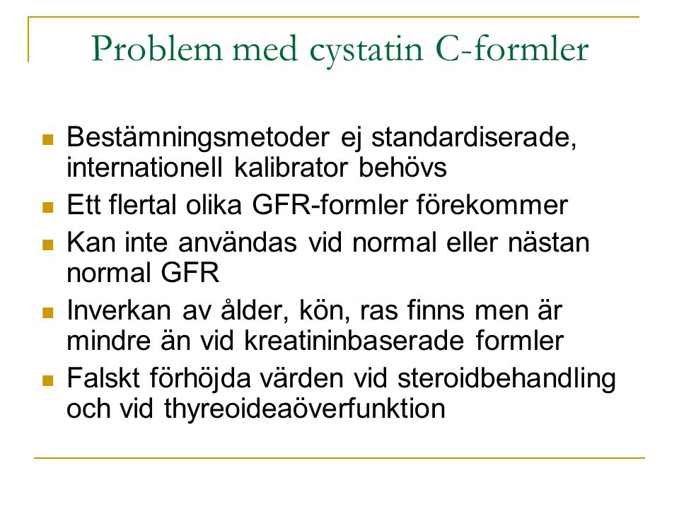 Problem med cystatin C-formler