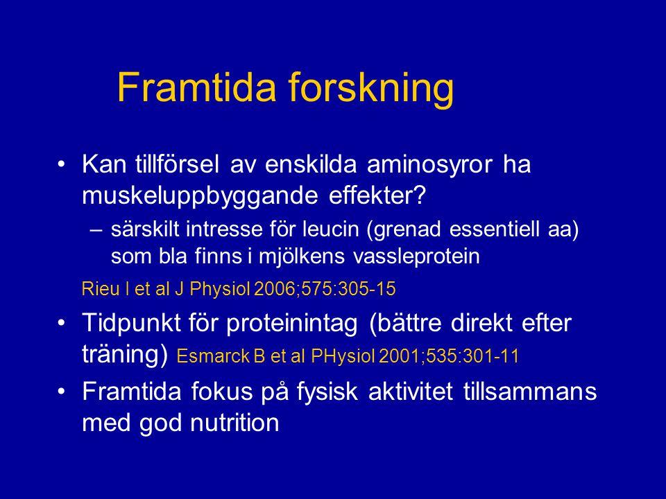 Framtida forskning Kan tillförsel av enskilda aminosyror ha muskeluppbyggande effekter
