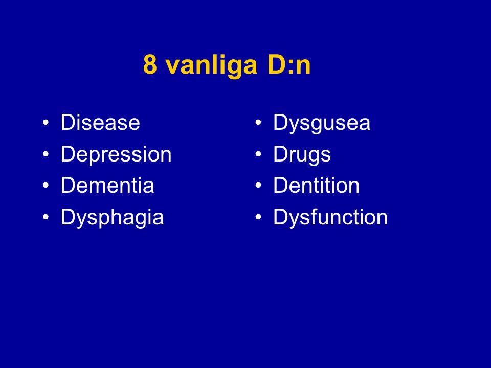 8 vanliga D:n Disease Depression Dementia Dysphagia Dysgusea Drugs