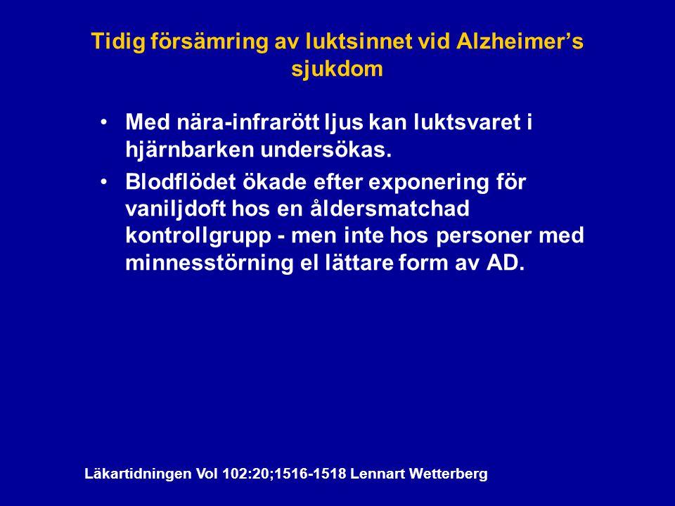 Tidig försämring av luktsinnet vid Alzheimer's sjukdom