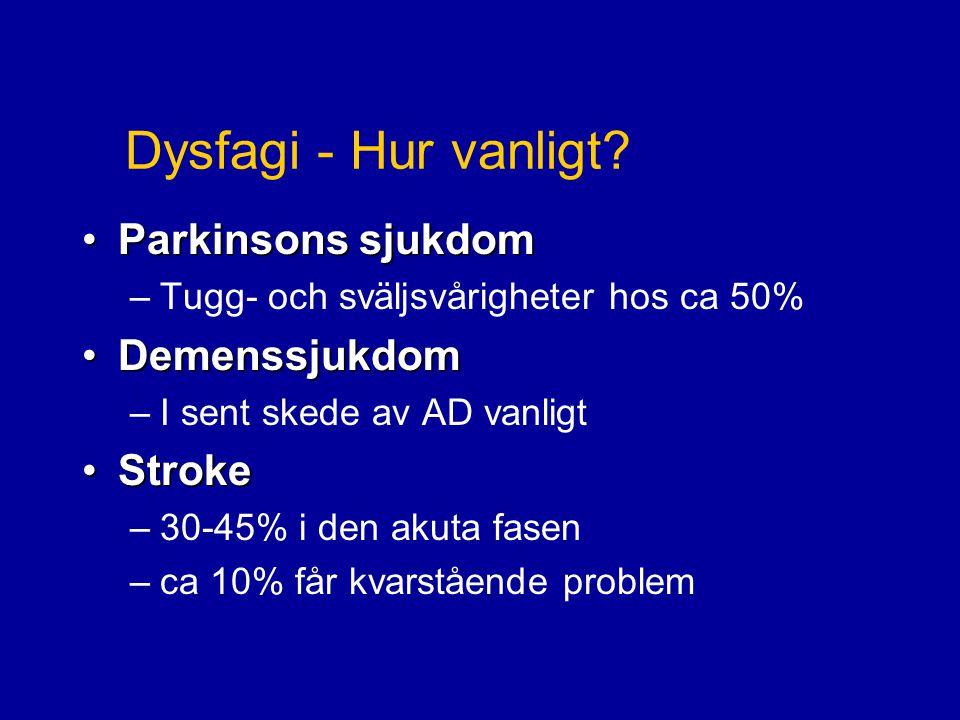 Dysfagi - Hur vanligt Parkinsons sjukdom Demenssjukdom Stroke