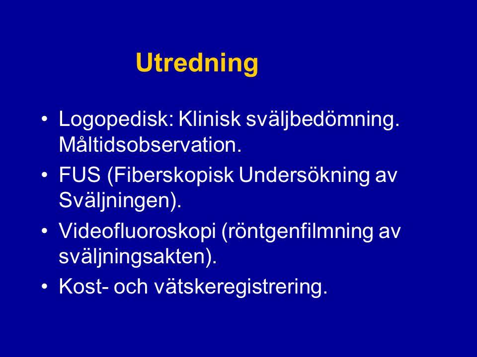 Utredning Logopedisk: Klinisk sväljbedömning. Måltidsobservation.