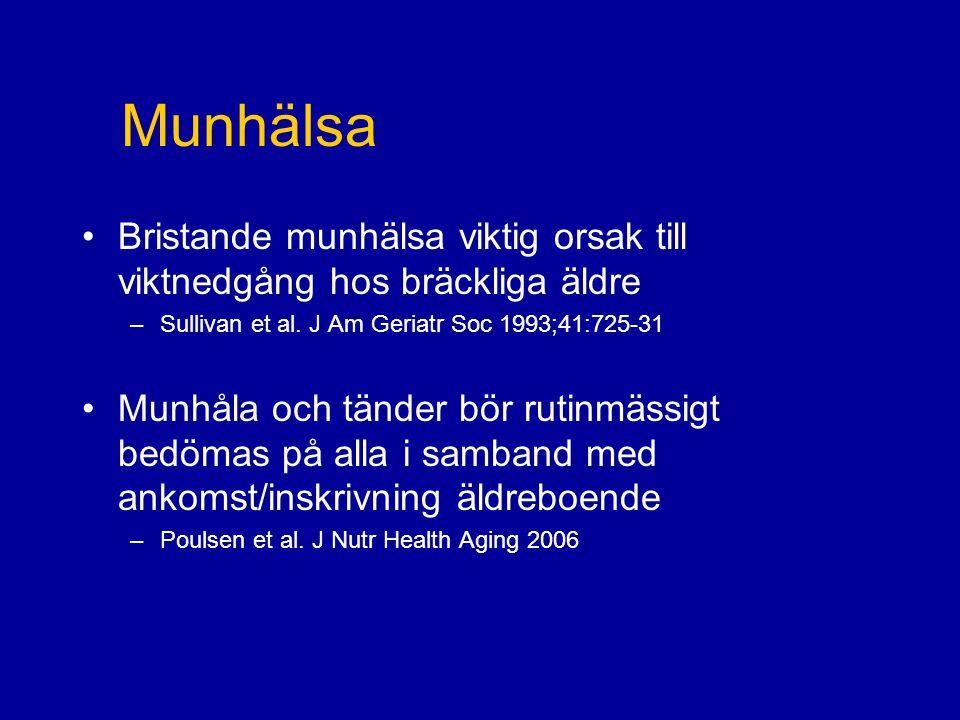 Munhälsa Bristande munhälsa viktig orsak till viktnedgång hos bräckliga äldre. Sullivan et al. J Am Geriatr Soc 1993;41:725-31.