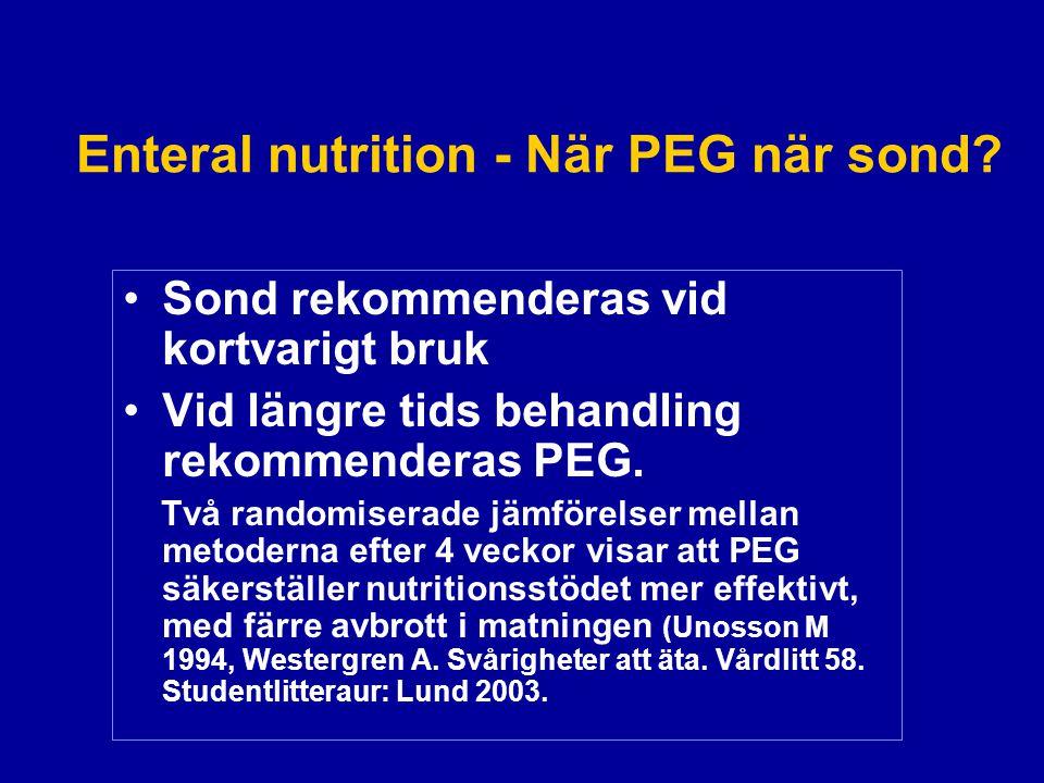 Enteral nutrition - När PEG när sond