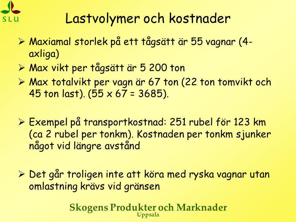 Lastvolymer och kostnader