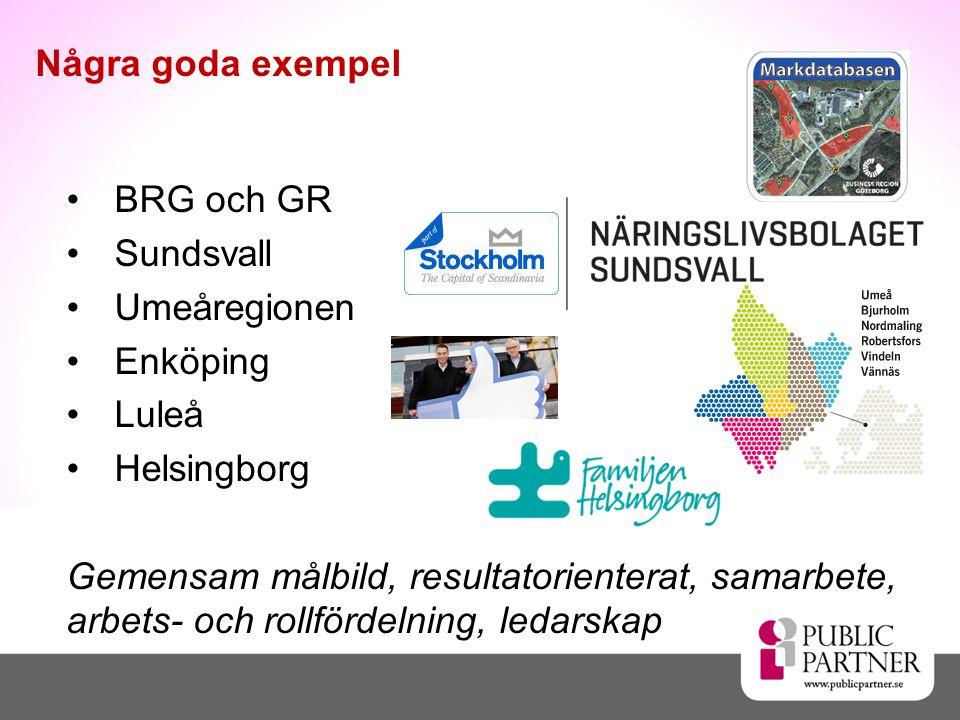 Några goda exempel BRG och GR Sundsvall Umeåregionen Enköping Luleå