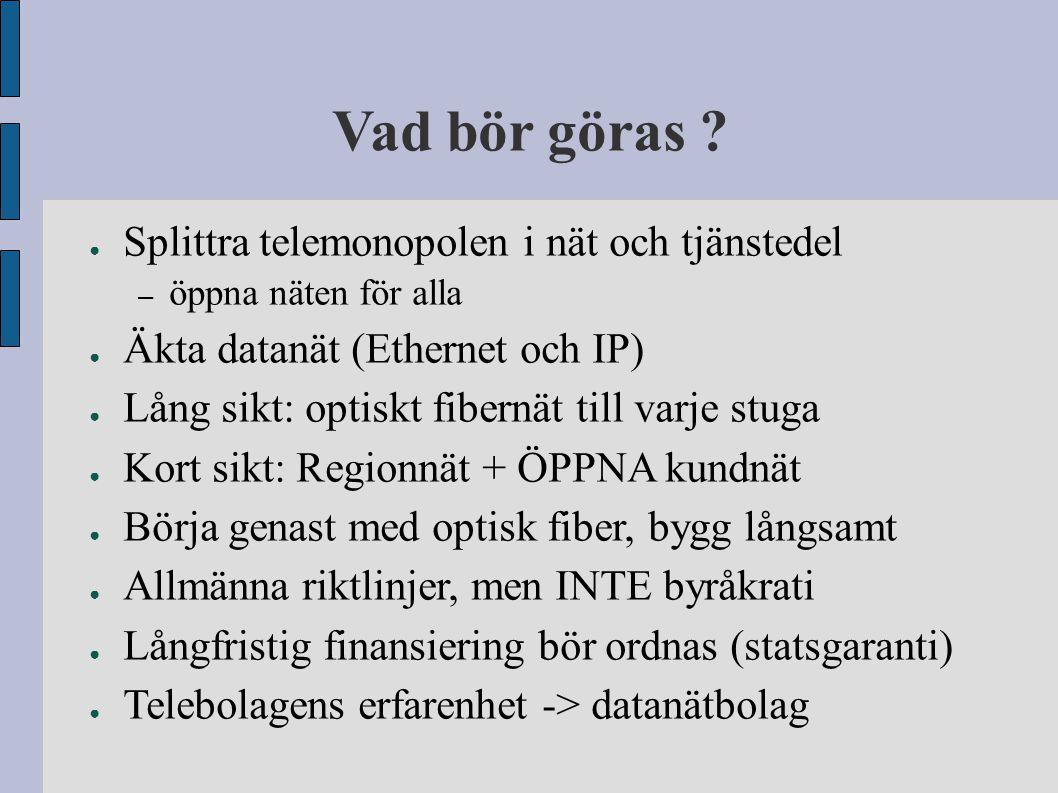 Vad bör göras Splittra telemonopolen i nät och tjänstedel