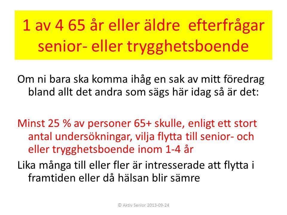 1 av 4 65 år eller äldre efterfrågar senior- eller trygghetsboende