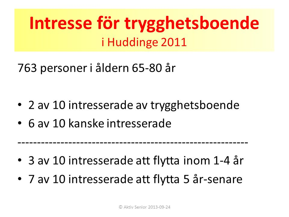 Intresse för trygghetsboende i Huddinge 2011
