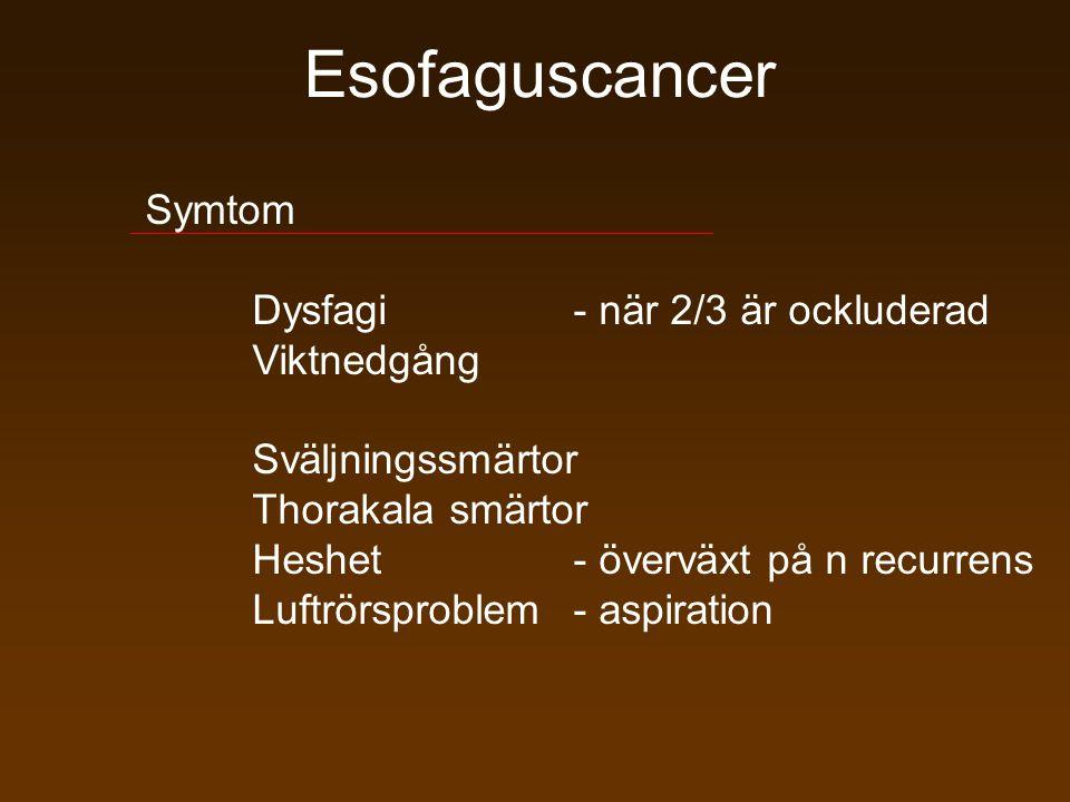 Esofaguscancer Symtom Dysfagi - när 2/3 är ockluderad Viktnedgång