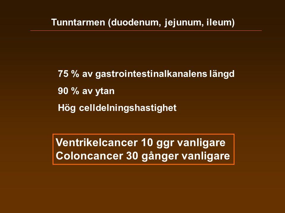 Ventrikelcancer 10 ggr vanligare Coloncancer 30 gånger vanligare