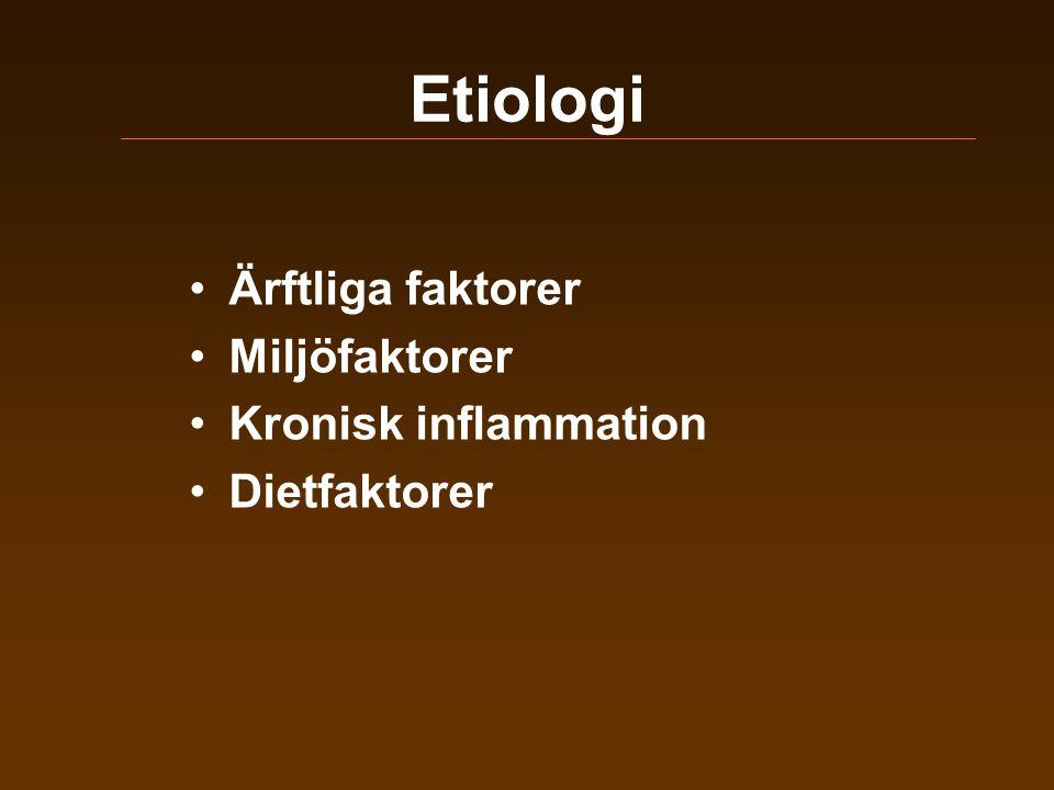 Etiologi Ärftliga faktorer Miljöfaktorer Kronisk inflammation