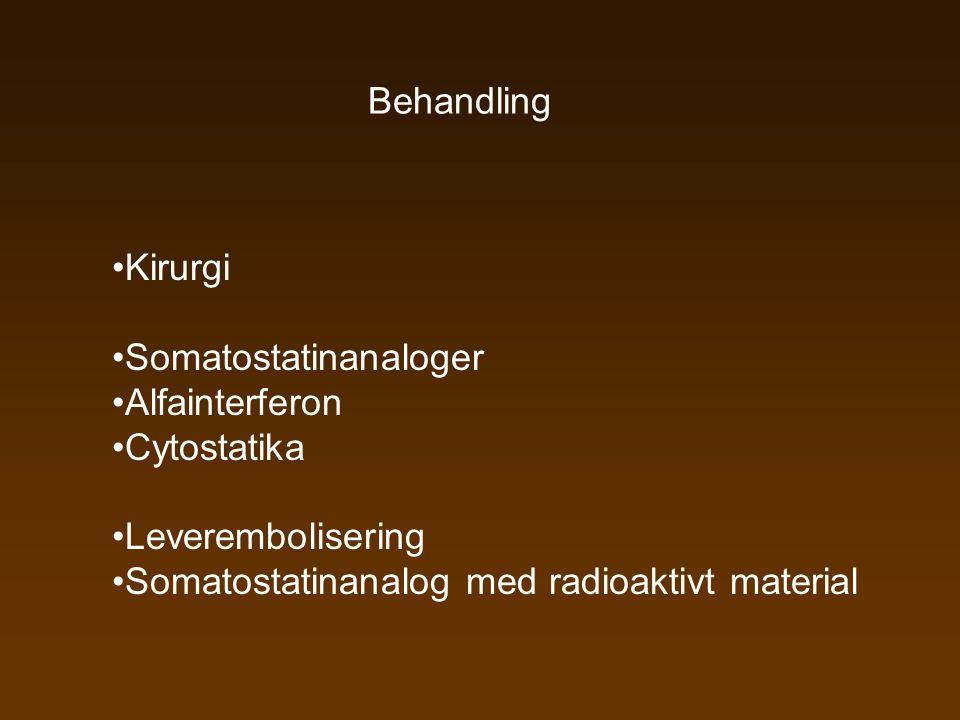 Behandling Kirurgi. Somatostatinanaloger. Alfainterferon.